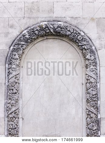 Decorative arch on the wall outdors. Abstract cover. Abstract background