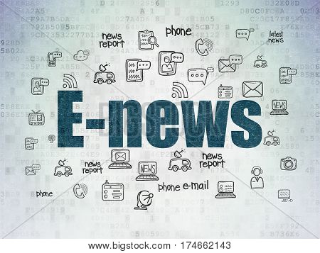 News concept: Painted blue text E-news on Digital Data Paper background with  Hand Drawn News Icons