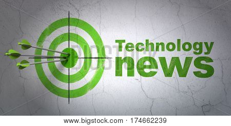 Success news concept: arrows hitting the center of target, Green Technology News on wall background, 3D rendering