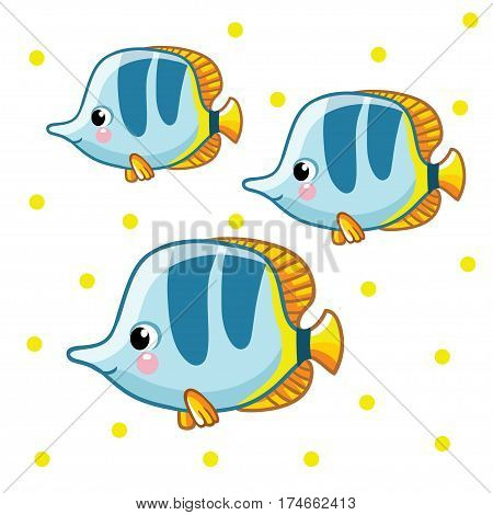 Colorful sea fish on white background with yellow points.