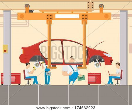 Car assembly at the factory skilled mechanics. Diagnostics and Troubleshooting. Vector illustration