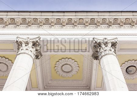 Legal building with big stone ionic columns in UKRAINE, KYIV. Concept: law, justice.