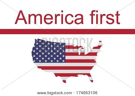 US Politics: America First Motto Slogan With Stars and Stripes map of the USA illustration