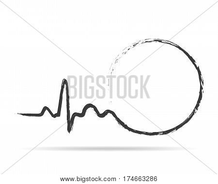 Gray circle with sign heartbeat icon. Vector illustration. Abstract drawing heartbeat sign in flat design.