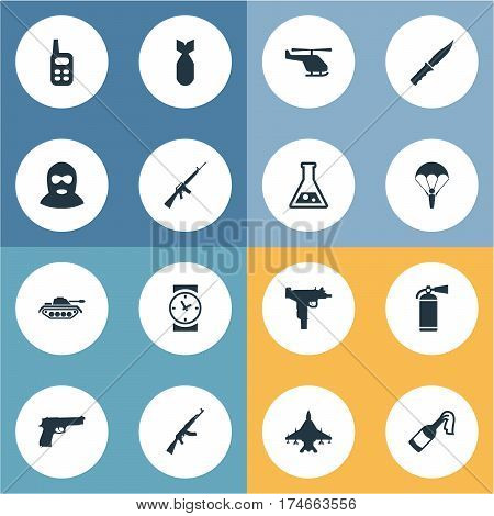 Set Of 16 Simple Military Icons. Can Be Found Such Elements As Nuke, Chemistry, Paratrooper And Other.