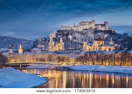 Historic City Of Salzburg In Winter At Dusk, Salzburger Land, Austria