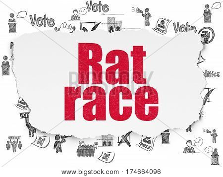 Political concept: Painted red text Rat Race on Torn Paper background with  Hand Drawn Politics Icons