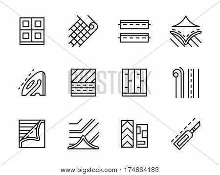 Symbols and elements of linoleum flooring. Finishing and building materials, floor covering service. Collection of simple black line design vector icons.