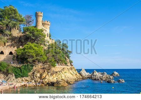 Castell d'en Plaja on a summer sunny day in Lloret de Mar, Girona, Catalonia, Spain