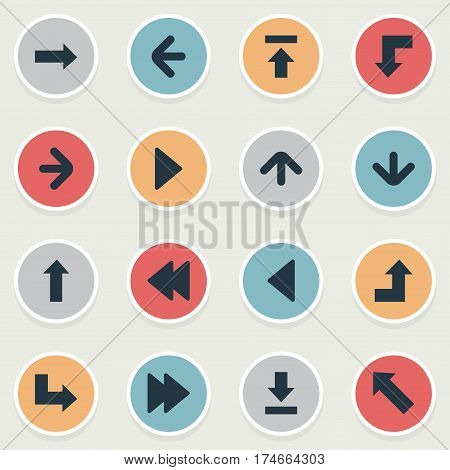 Set Of 16 Simple Pointer Icons. Can Be Found Such Elements As Reduction, Downwards Pointing, Left Landmark.