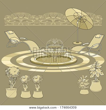 Vector illustration of hand drawn  lounge chair, fountain, umbrella and flowers in pot. Garden accessory on beige  background. Landscape design. Summer backyard with outdoor furniture. Rest area.