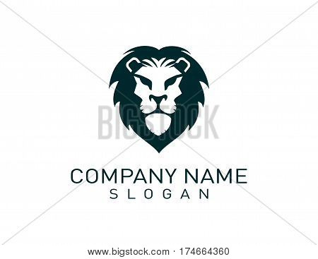 modern head lion logo on white background