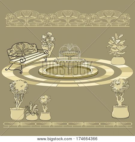 Vector illustration of hand drawn  bench, fountain, railings and flowers in pot. Garden accessory on beige  background. Landscape design. Summer backyard with outdoor furniture. Rest area.