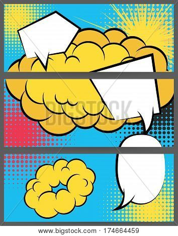 Comic speech balloon explosion on halftone dot background pop art style. Collection abstract creative hand drawn colored blank bubble. Comic book text dialog empty cloud. For sale banner set.