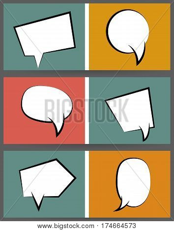 Collection comic speech balloon on colored  background pop art style. Comic book text dialog empty cloud. For sale banner set. Set abstract creative hand drawn vector white blank bubble.