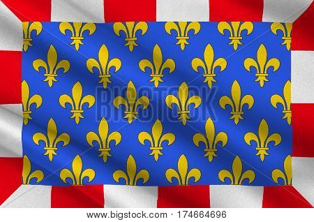 Flag of Indre-et-Loire is a department in west-central France named after the Indre and the Loire rivers. 3d illustration