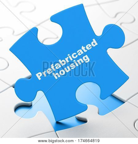 Construction concept: Prefabricated Housing on Blue puzzle pieces background, 3D rendering