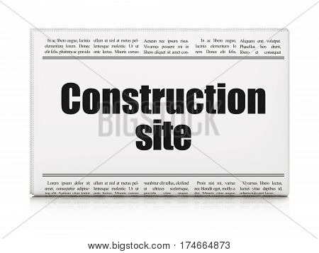 Construction concept: newspaper headline Construction Site on White background, 3D rendering