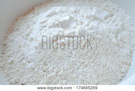 Top fine wheat flour and wholemeal barley bottom