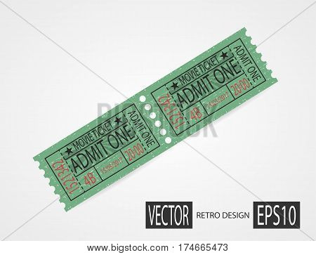 Retro cinema ticket. Designer vector illustration isolated on white background. Vintage texture ticket paper in old pop art style. Coupons.