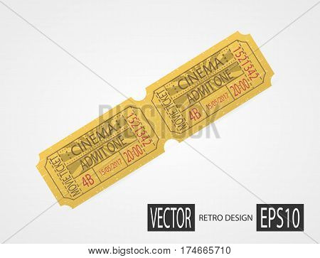 Vintage texture ticket paper in old pop art style. Coupons. Retro cinema ticket. Designer vector illustration isolated on white background.