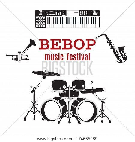 Vector set of bebop jazz music instruments. Flat style black and white design elements isolated.