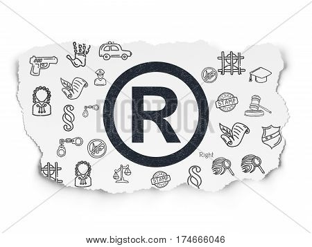 Law concept: Painted black Registered icon on Torn Paper background with  Hand Drawn Law Icons