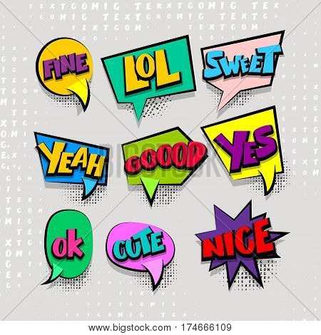 Big set comic font bubble effects template. Speech chat bubbles halftone dot background style pop art. Dialog cloud text style pop art. Creative idea speech balloon conversation comic book