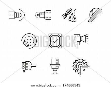 Metalworking machines for milling, cutting and finishing treatment of metals. Industrial equipment. Collection of simple black line design vector icons.