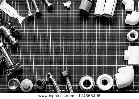 Set Plumbing And Tools On A Black And White Background.