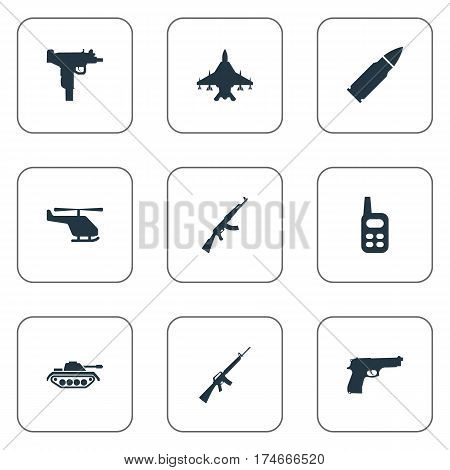 Set Of 9 Simple Terror Icons. Can Be Found Such Elements As Walkies, Pistol, Helicopter And Other.