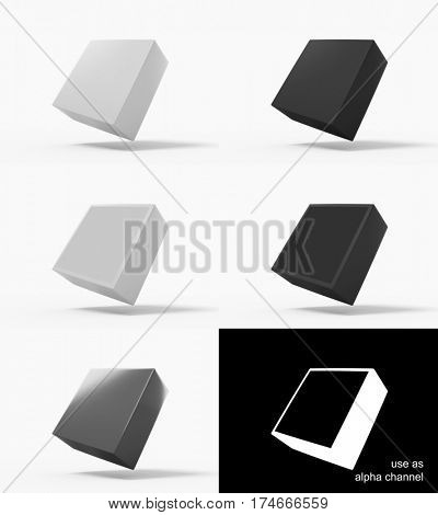 Square package box mockups. 3d rendering