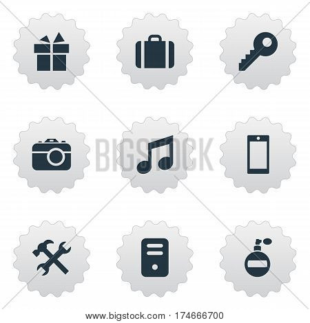 Set Of 9 Simple Instrument Icons. Can Be Found Such Elements As System Unit, Present, Repair And Other.