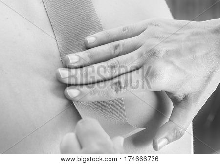 Patient At The Physiotherapy With Different Tapes