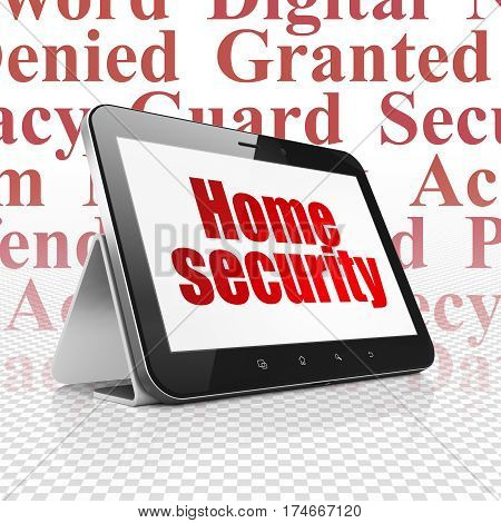 Security concept: Tablet Computer with  red text Home Security on display,  Tag Cloud background, 3D rendering