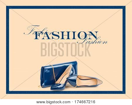 Beautiful Blue Shoes With Clutches On  Background