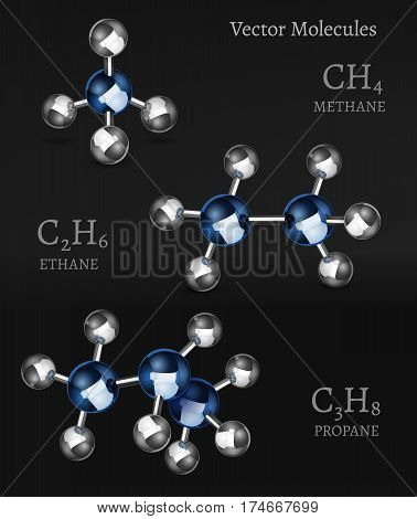 Propane, ethane, methane molecules in 3D style. Vector illustration with chemical formulas isolated on a dark grey background. Scientific, educational and popular-scientific concept.