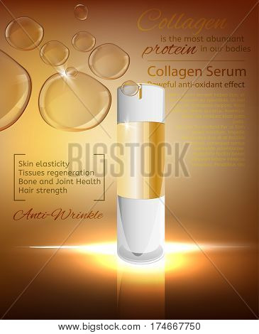 White glass flacon with golden elements. Beautiful vector illustration in realistic style. Cosmetic, skin care or perfumery concept in bronze colours. Premium design template with copyspace.