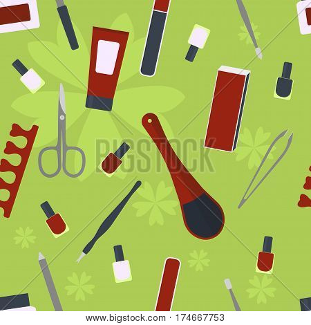 accessories and tools for manicure and pedicure. seamless pattern