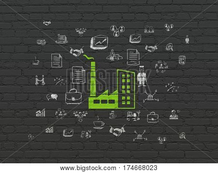 Business concept: Painted green Industry Building icon on Black Brick wall background with  Hand Drawn Business Icons