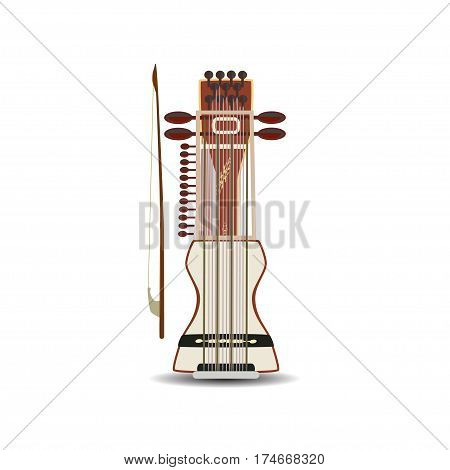 Vector illustration of sarangi isolated on white background. Indian string bowed musical instrument in flat style.