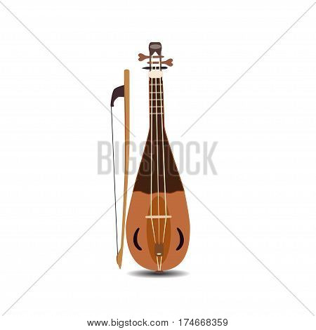 Vector illustration of rebec violin with bow isolated on white background. String musical instrument.