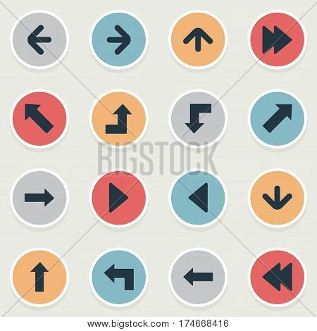 Set Of 16 Simple Arrows Icons. Can Be Found Such Elements As Downwards Pointing, Left Direction, Left Direction And Other.