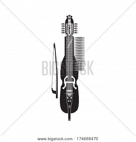 Vector illustration of traditional swedish nyckelharpa. Black and white musical instrument isolated on white background flat style.