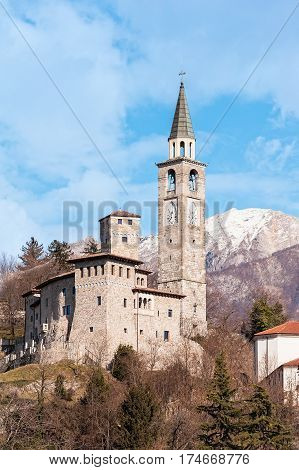 Medieval Castle And Belltower In Italy.