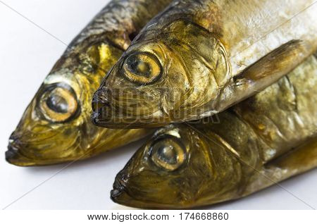 Baltic herring, smoked on a white background