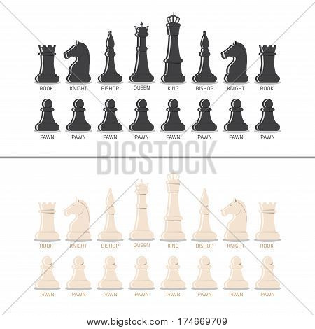 All chess pieces black and white from pawn to king and queen. Flat style vector illustration.