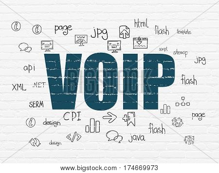 Web development concept: Painted blue text VOIP on White Brick wall background with  Hand Drawn Site Development Icons