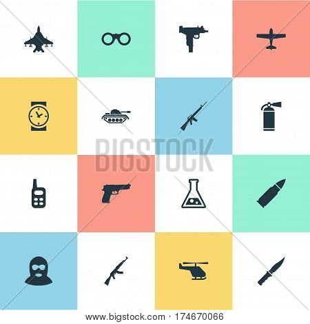 Set Of 16 Simple Terror Icons. Can Be Found Such Elements As Kalashnikov, Helicopter, Heavy Weapon And Other.