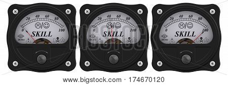 Indicator of skill. Analog indicator showing the level of skill. 3D Illustration. Isolated